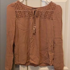 wet seal tan long sleeve blouse